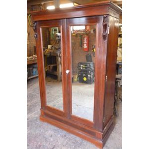Victorian cedar 2 mirrored door wardrobe, good original condition, clean inside, unusual pull out hanging space, mirrors have...