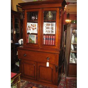Australian secretaire bookcase in solid Blackwood Cedar & Kauri. Circa 1880. Good condition. Fitted interior to writing section....