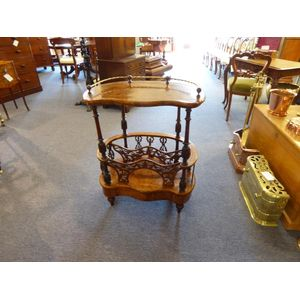 Impressive Victorian burr walnut canterbury, brass rail to top, great fretwork and foot drawer.