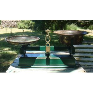A set of beautiful French cast iron shop scales in a dark green with gold timing , beautifully weathered brass trays bronze in...