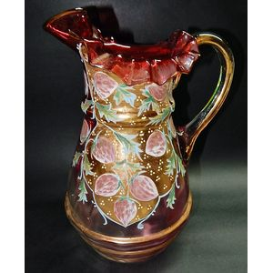 A Victorian period hand decorated glass jug dating to around 1880. Good condition with no chips, cracks or repairs