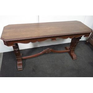 Lovely designed console hall-table with carved pillars and decorative edge, scroll feet. Australian origin, Queensland Maple....