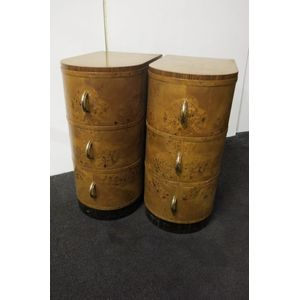 Attractive pair of Art Deco bedside cabinets in Russian burr birch, curved fronts with bakellite, crome handles. $1250 pair