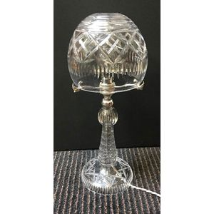 Early 20th Centry Cut Crystal Lamp Rewired To Aust Standard With Silk Cord