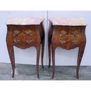 A beautiful pair of French inlaid kingwood marble top bedsides. Two drawers set on cabriole legs with decorative handles and...