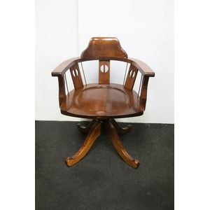 Australian mountain ash arts and crafts desk chair in restored condition with adjustable height and tilt.
