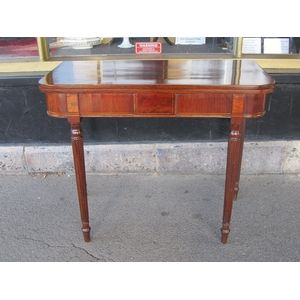 This card table is C1810, English and is veneered on the top and apron with Australian Casuarina (Botany Bay Wood or Beefwood)...