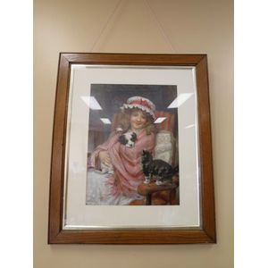 Late Victorian framed print 'Making Friends' by George Sheridan Knowles (1863-1921).