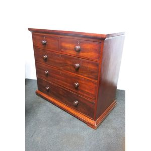 Early cedar 5 drawer chest in restored condition. Cedar is used to make the interior of the drawers and the majority of the...