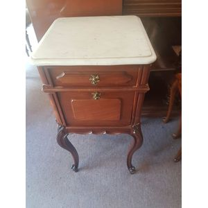 French mahogany one drawer one door cabinet . Carrara marble top in great condition . Bedside hallway  corner .