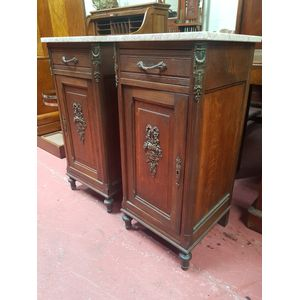 Pair French oak full bodied renaissance bedside cabinets with full length door and single drawer.