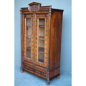 Walnut Empire Bookcase Glazed Doors 1835