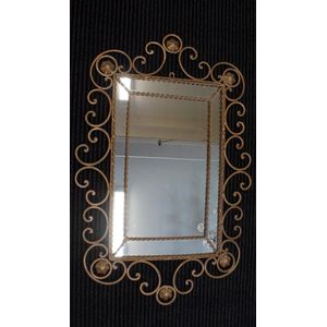 French Wrought Iron Mirror in Good Clean Original Condition