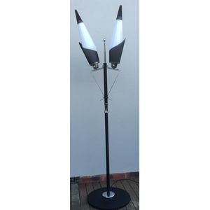 Rare 1950's chrome and black 2 light floor lamp made by Arrow Products (Melbourne). Not only is this lamp in excellent...