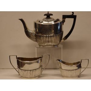 This bachelor 3 piece tea set is Birmingham 1900 so it is both 19th century and Victorian. It is a trophy set and is inscribed...