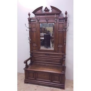 A substantial french walnut hallstand with storage seat. In excellent original condition, and excellent quality. Retaining all...