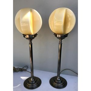 Pair of tall solid brass column lamps with aged patina finish and original 1930's cream cubist glass shades. Fully re-wired....
