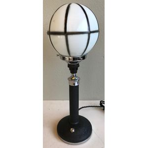 1930's English deco chrome and black column lamp with original black/white spherical glass shade. Lamp is very well made and...