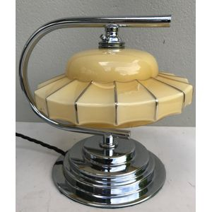 Great 1930's English deco chrome curved arm lamp with just the best moulded cream glass/chrome banded shade. Great design....