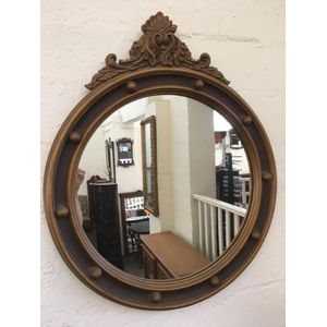 Regency Style Circular Wall Mirror with carved apex, gesso finish, moulded frame and ball studded perimeter. Excellent...