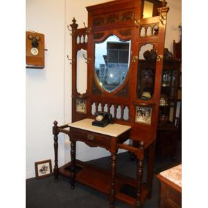 Mahogany Hallstand Consisting of Brass Hooks and Bevelled Mirror Below With Inserted Tiles and Marble Shelf Also Original Tin...