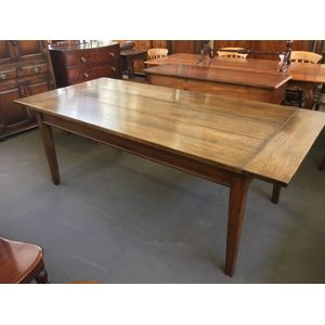 Solid American Oak Provincial Dining Table with thick well-grained top, apron, pinned joinery and square tapering legs....