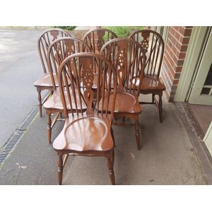 Set of 6 english elm wheelback