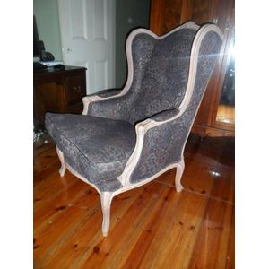 French style wing chair in gre