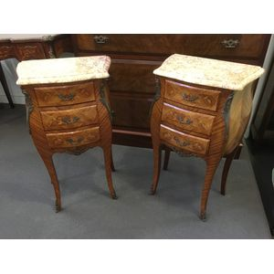 French Louis XV Style Kingwood bombe shaped Bedside tables in fully repolished condition. Excellent quality.  $ 895 each.
