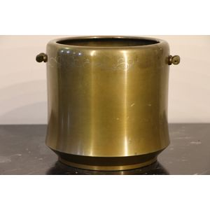 A solid bronze cast cauldron s