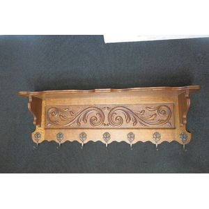 French oak wall coat, hanging rack. Turn of the century c1910-1920s.