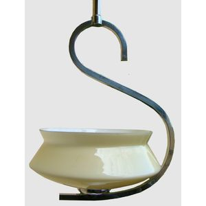 Elegant 1930's chrome pendant light with unusual 'S' design. Comes complete with original cream moulded glass shade and has...