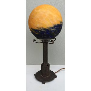 1930's French deco wrought iron column lamp with orange/blue 'sunrise' glass shade. Lamp has nice column design and has been...