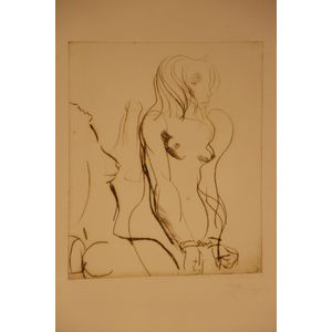 An stylized etching of two nud