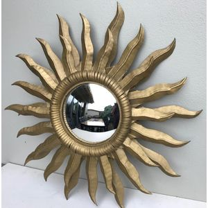 Large 1950's French gilt sunburst mirror with convex glass. Excellent condition. Measures an impressive 740mm wide and the...