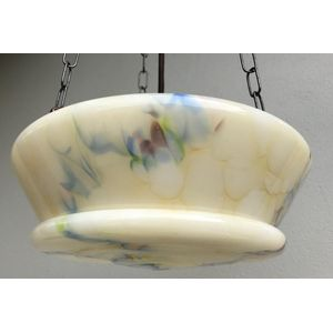 1930's Czech deco cream moulded glass ceiling light shade with blue/red/yellow-green veining. Great shape and colours. Comes...