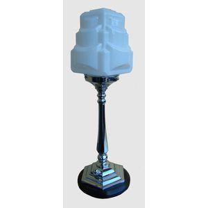 English 1930's angular chrome column lamp with its original white cubist glass shade. Lamp sits on a stained timber base and...