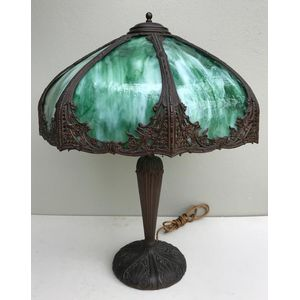 Beautiful large 1920's/1930's solid bronze American table/banquet lamp with curved green slag glass panes. This is a high...