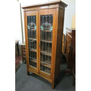 Quality oak Art Nouveau bookca