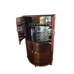 Rare Art Deco Cocktail bar or drinks cabinet with a vertical rectangular rear section and a half round front with half round...