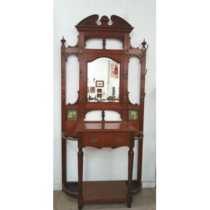 One of the grandest late Victorian walnut hall stand you will ever see. Has 12 hooks for hanging, very large drawer for storage...