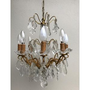 Very elegant small 1940's/1950's French brass and glass/crystal 8 light chandelier. Fixture has many drops and is in excellent...
