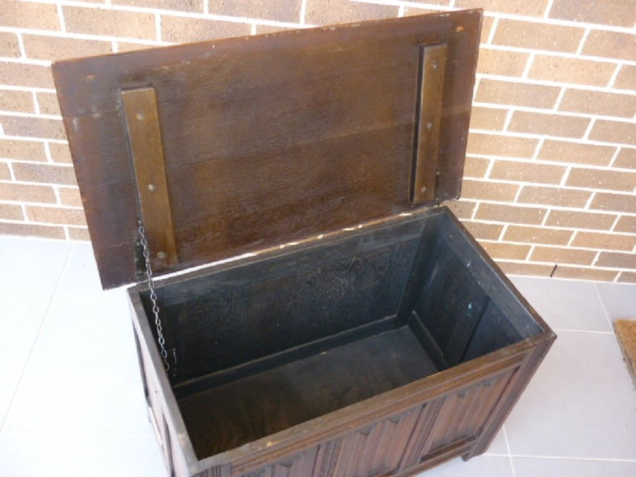 Buy 1940s Oak Linenfold Blanket Chest Box From