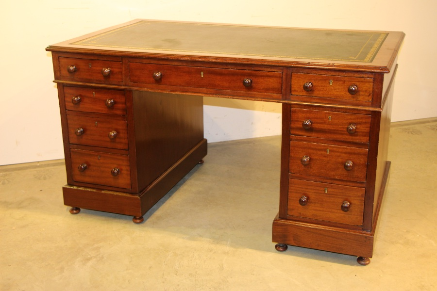 Buy Large English Pedestal Desk Leather Top From Antiques