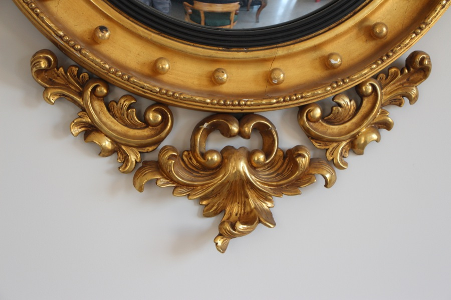 Buy Giltwood Carved Regency Convex Mirror From Antiques