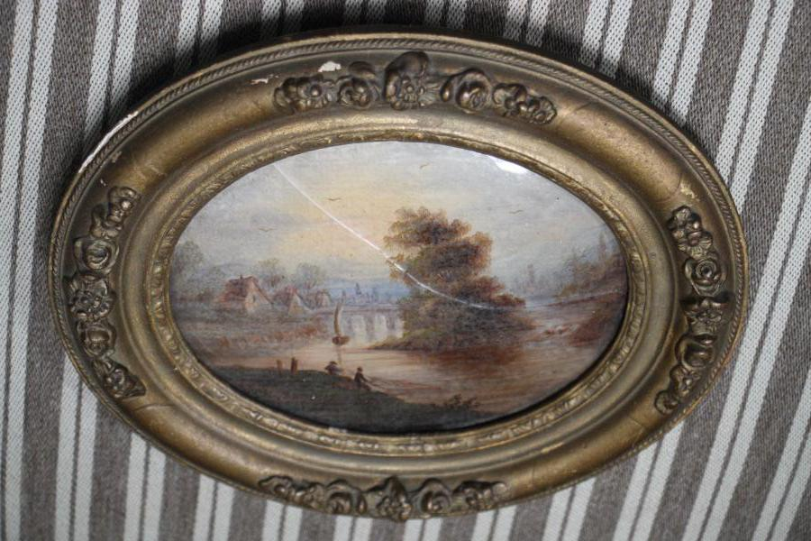 Buy French Oval Landscape Painting Gilt Fram From Antiques