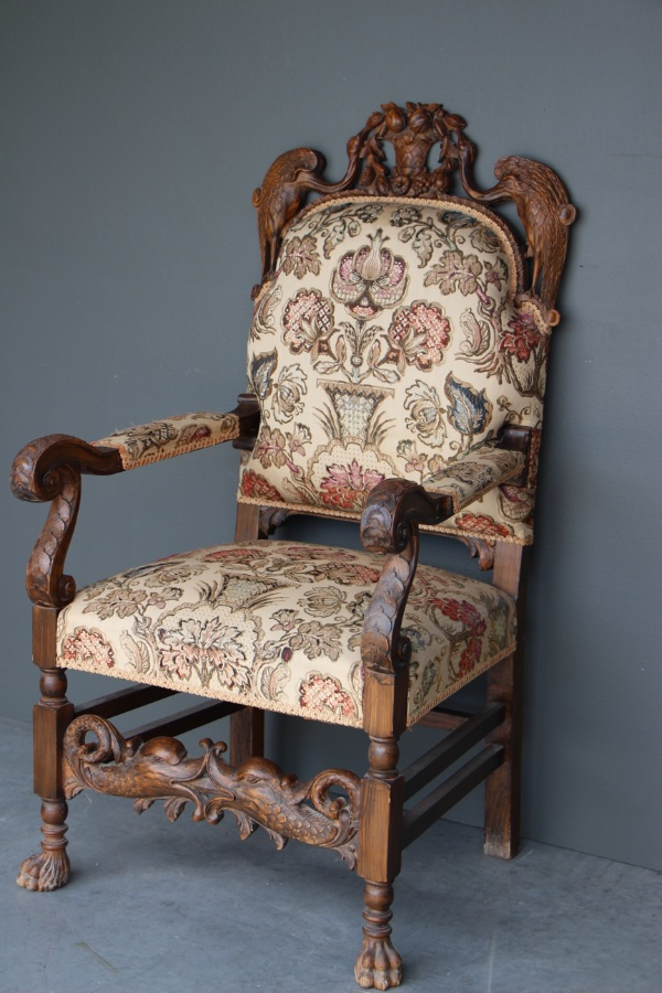 Buy Ornate carved baroque throne armchair from Antiques ...