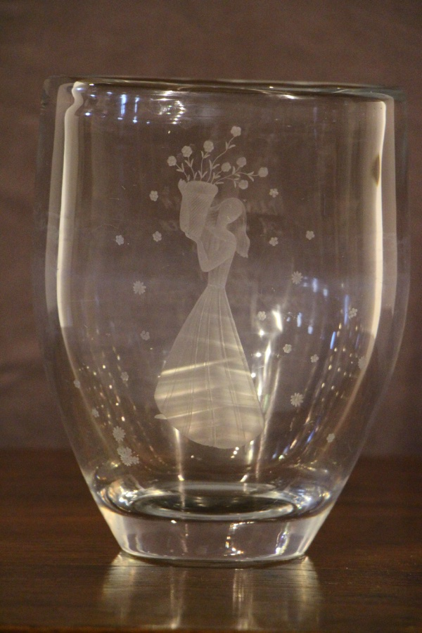 Buy Swedish Heavy Engraved Crystal Vase From Antiques And
