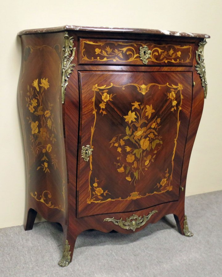 Buy Inlaid Marble Top Bombe Cabinet Plus Other Antique