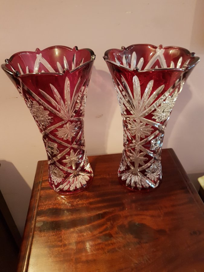 Buy Pair Bohemian Ruby Etched Vases From Tulip Antiques Art
